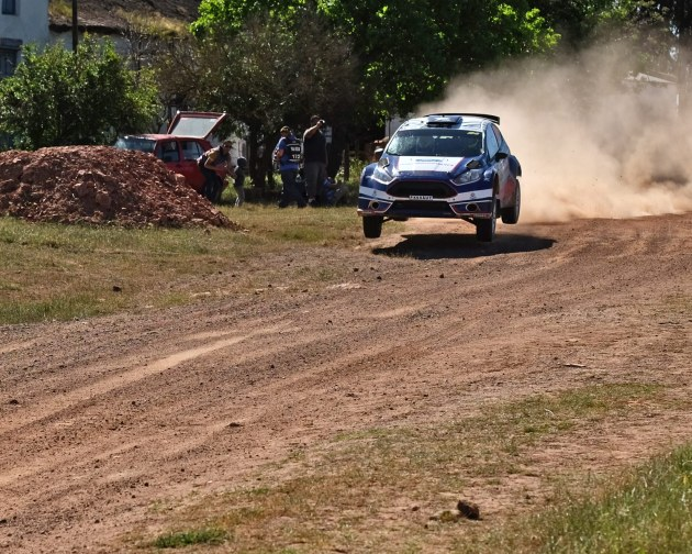 Ford Fiesta flying in the Cape Dealer rally 2015.