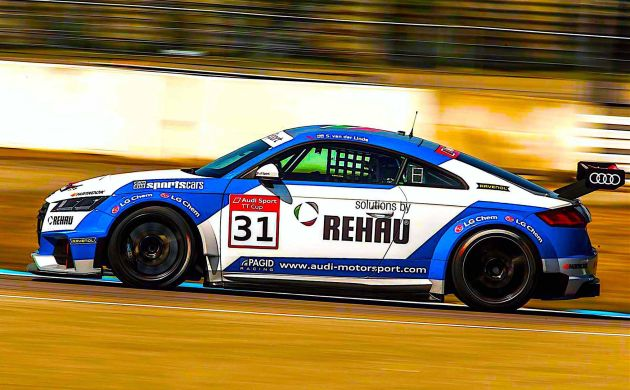 Sheldon van der Linde races to victory on his Audi TT Cup debut